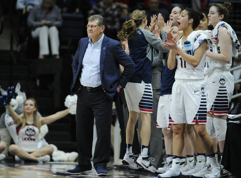 Connecticut head coach Geno Auriemma watches play in the first half during a first round women's college basketball game against Robert Morris in the NCAA Tournament, Saturday, March 19, 2016, in Storrs, Conn. UConn won 101-49. (AP Photo/Jessica Hill)