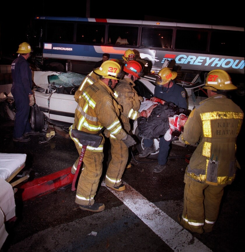 One person died and over a dozen people were injured after a hit-and-run driver crashed his car into a Greyhound bus at the intersection of Sunset Boulevard and Vine Street in Hollywood.