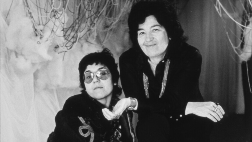 Miriam Schapiro, right, with Judy Chicago. Together, the two founded the feminist art program at California Institute of the Arts in 1970.