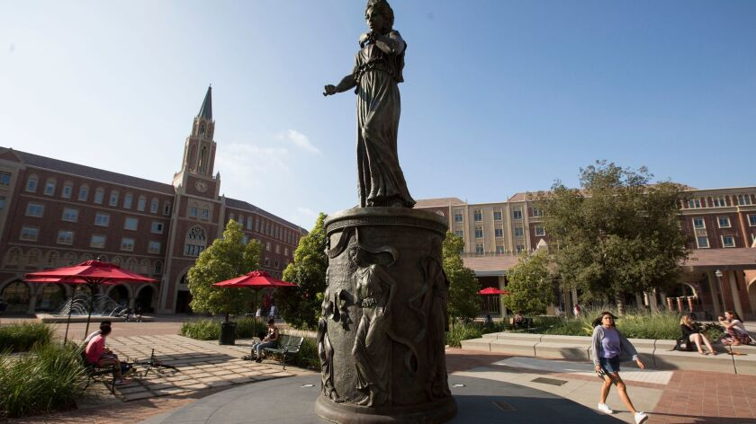 The statue of Hecuba, queen of Troy, on the USC campus in Los Angeles. Under the Republican tax plan, USC and other large private universities could face a 1.4% tax on the investment income earned by their endowments.