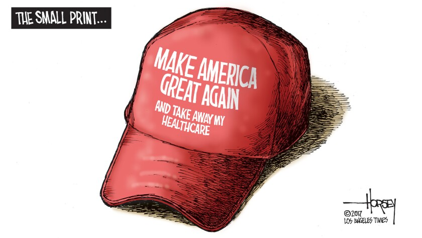 The small print on the red Trump cap.