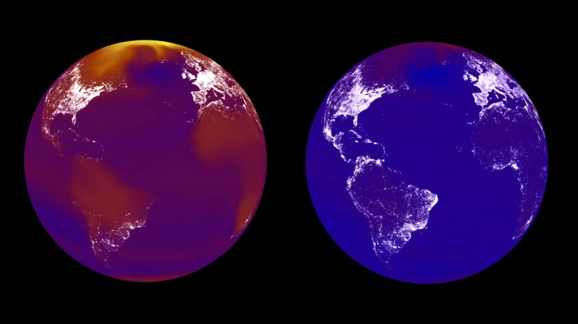 A hotter world is a more unequal world: A cooler world, right, will allow less developed countries to catch up with the rest of the globe, as seen in the brighter lights in the subtropical zone; unmitigated climate change, left, will harm warmer countries, resulting in less economic activity.