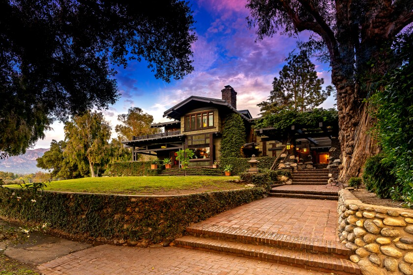 The Duncan-Irwin House in Pasadena has such Craftsman features as overhanging eaves, exposed rafter tails and clinker bricks. (Erik Grammer and Giovanni Rida for Sotheby's International Realty)