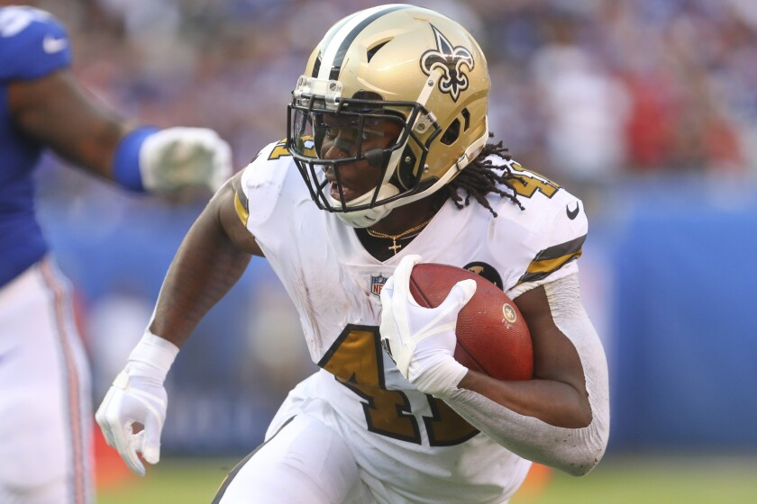 New Orleans Saints running back Alvin Kamara (41) is capable of being the best player in fantasy football. He's worthy of selection anywhere inside the top four picks of your draft.