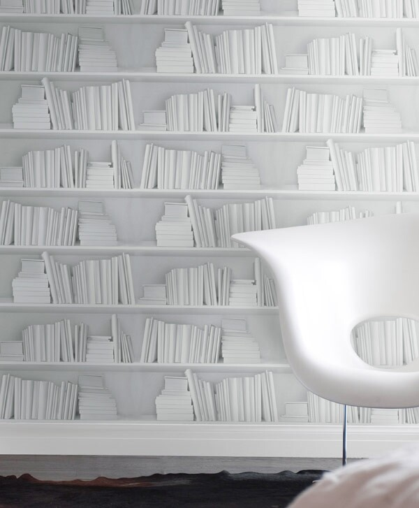Would it be too much to say Young & Battaglia's white bookshelf wallpaper is heavenly?