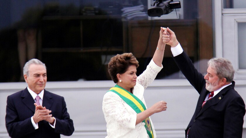 """Michel Temer, left, Dilma Rousseff and Lula da Silva in a scene from """"The Edge of Democracy,"""" directed by Petra Costa."""
