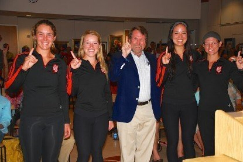 "The San Diego Rowing Club met Daniel James Brown, author of ""The Boys in the Boat,"" after he spoke at the Point Loma Library on June 4. The rowers recently competed at the National Championships in Sacramento."