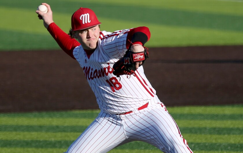 Miami (Ohio) University pitcher Sam Bachman was selected ninth overall by the Angels in the MLB draft Sunday.