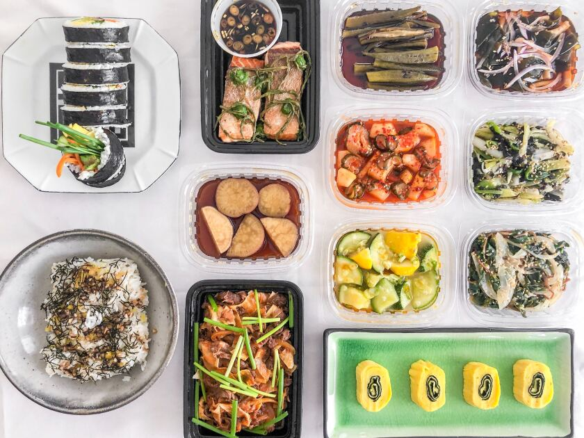 A feast of banchan and other dishes from Jihee Kim's takeout and delivery venture Perilla LA.