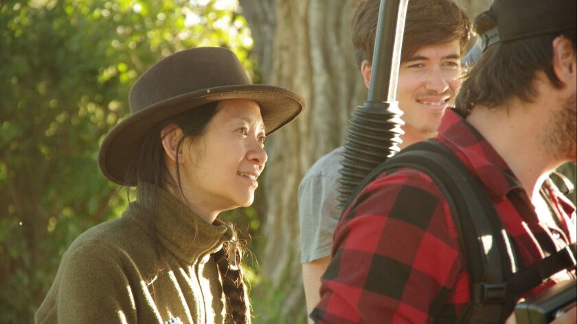 "Writer/Director Chloe Zhao on the set of ""The Rider."" Credit: Sony Pictures Classics"