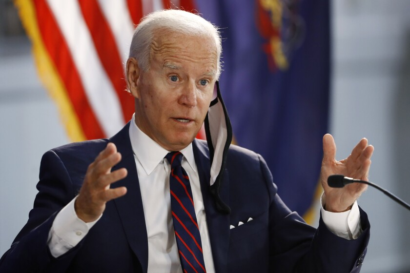 Democratic presidential candidate Joe Biden speaks during a roundtable on economic reopening in Philadelphia on Thursday.