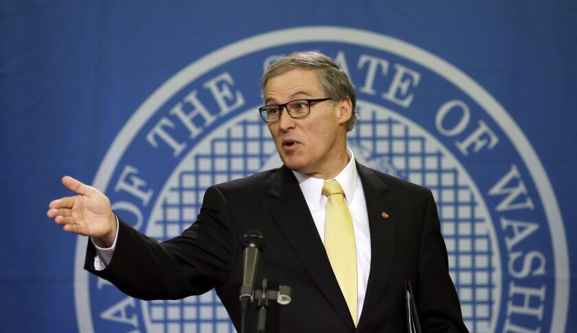 Washington Gov. Jay Inslee speaks during an appearance in Olympia.