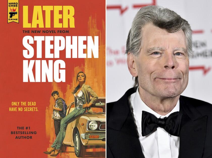 """En esta combinación de fotografías la portada de """"Later"""", izquierda, y el autor Stephen King."""