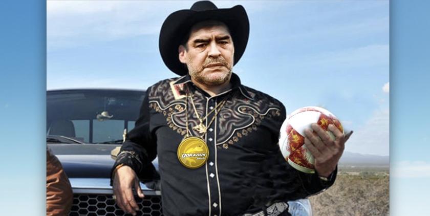 Un 'meme' de Maradona, al estilo que usan varias personas en Sinaloa, México, su nueva 'casa'.
