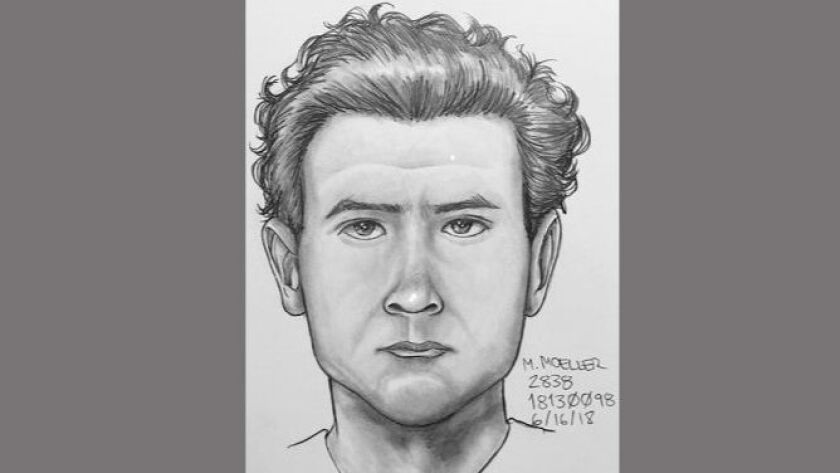 Sketch of man suspected in an attack on a woman in Vista