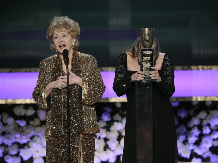 Debbie Reynolds and Carrie Fisher at the 2015 SAG Awards, where Reynolds received a career honor.