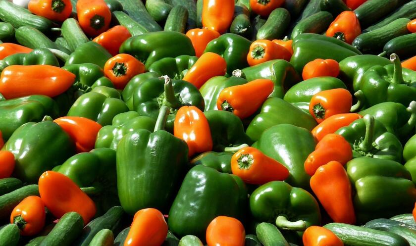 The most common colors of bell peppers are green, yellow, orange and red; with red being the sweetest.
