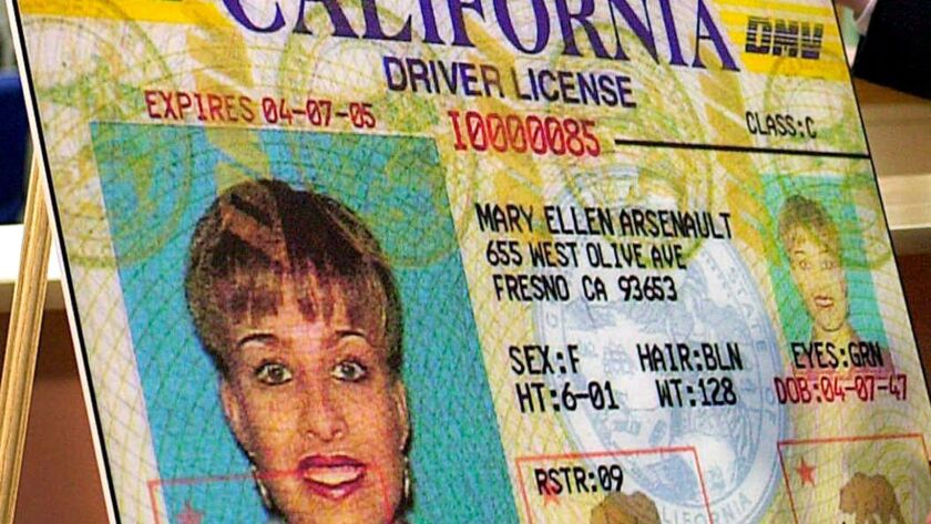 A facsimile of the state's driver's license in Culver City, Calif.