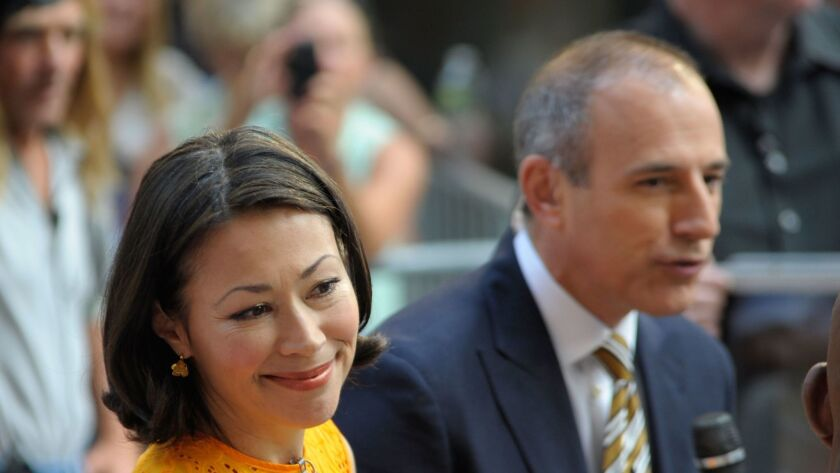 """Ann Curry with Matt Lauer in June 2012, when they co-anchored NBC's """"Today."""""""