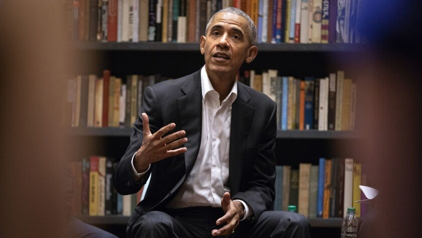 Former President Obama at Stony Island Arts Bank in Chicago in May.