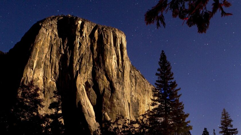 El Capitan in Yosemite National Park. Two veteran climbers fell Saturday while climbing the challenging Freeblast route on the sheer granite face, the park service said.