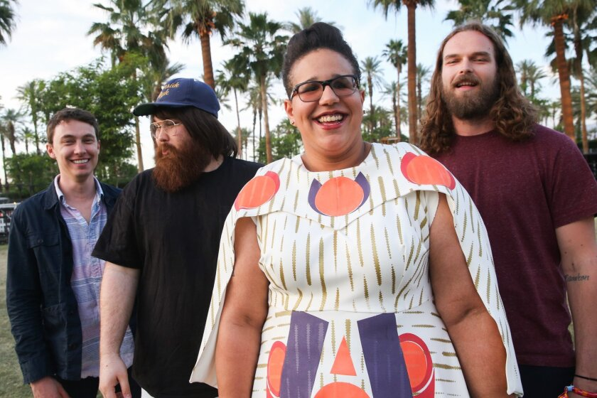 """FILE - In this April 10, 2015 file photo, Alabama Shakes, from left, Heath Fogg, Zac Cockrell, Brittany Howard and Steve Johnson pose for a portrait at the 2015 Coachella Music and Arts Festival in Indio, Calif. The band will release their latest album """"Sound & Color,"""" on Tuesday, April 21. (Photo by Rich Fury/Invision/AP)"""