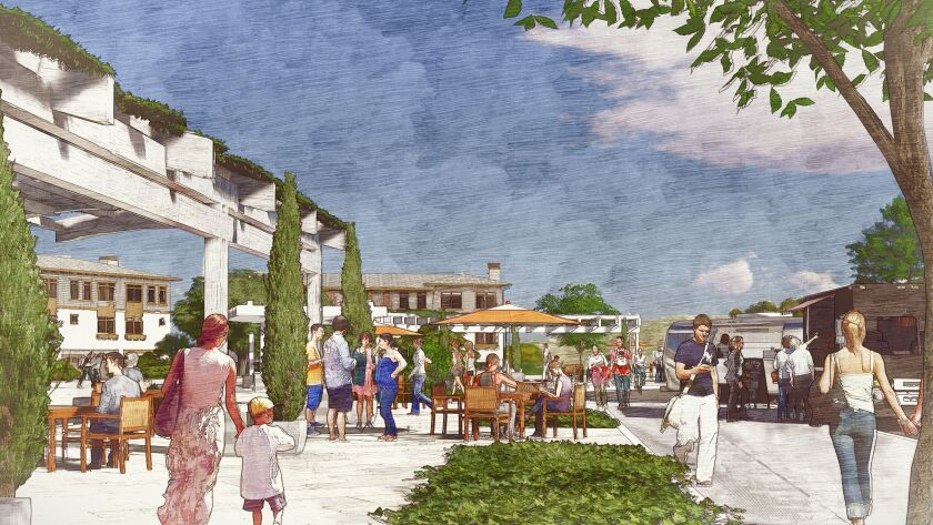 Rendering of a piazza that would be part of a 1,200-unit project proposed for Carmel Mountain Ranch called The Trails.