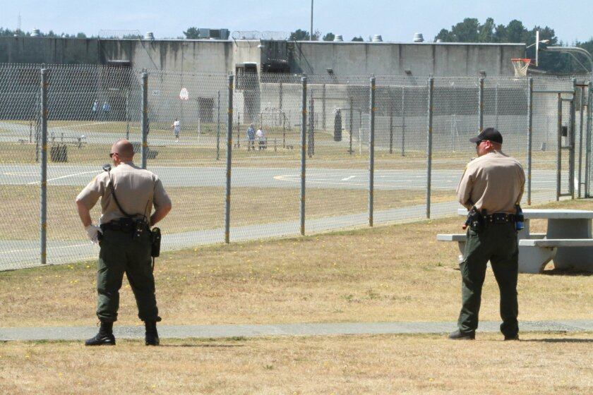FILE  In this Aug. 17, 2011 file photo, correctional officers keep watch on inmates in the recreation yard at Pelican Bay State Prison near Crescent City, Calif. Scott Kernan, the newly appointed Secretary of the Corrections and Rehabilitation Department, said that he plans to boost training for pr