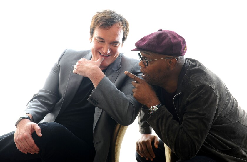 """As an artist you can only hope to do some piece of material that actually connects to the zeitgeist,"" says Quentin Tarantino, left, with Samuel L. Jackson."