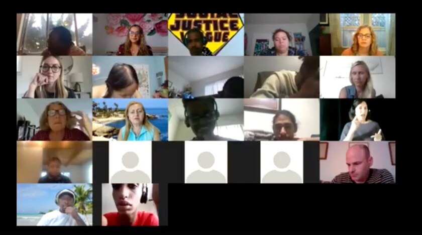 """Screenshot of students discussing issues in a """"Social Justice League"""" meeting via Zoom"""