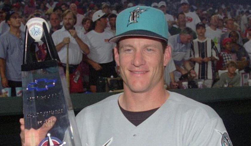The Marlins' Jeff Conine received the MVP award after hitting an eighth-inning homer that provided the winning margin for the NL in the 1995 All-Star Game.