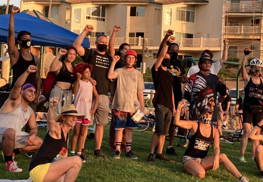 SolanaBeach4Equality hosted a pit stop at Fletcher Cove for riders who took part in #100Miles4RacialJustice.