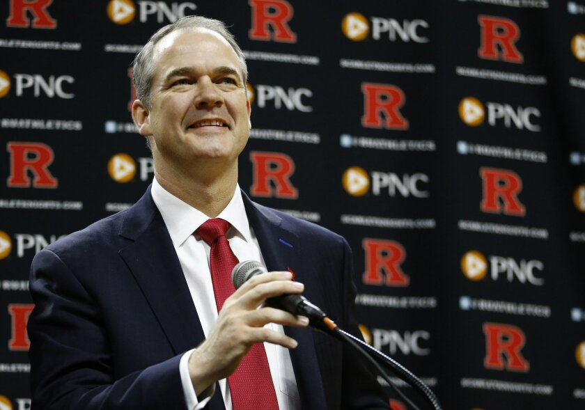 Steve Pikiell speaks during a news conference where he was announced as the new head coach of the Rutgers University men's college basketball team, Tuesday, March 22, 2016, in Piscataway, N.J. The university's Board of Governors on Tuesday approved a five-year, $8 million contract. Pikiell succeeds
