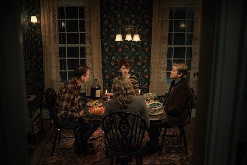 "David Thewlis, clockwise from left, Jessie Buckley, Jesse Plemons and Toni Collette in ""I'm Thinking of Ending Things."""