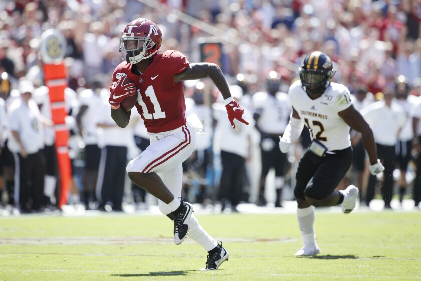 Alabama receiver Henry Ruggs shows his breakaway speed.