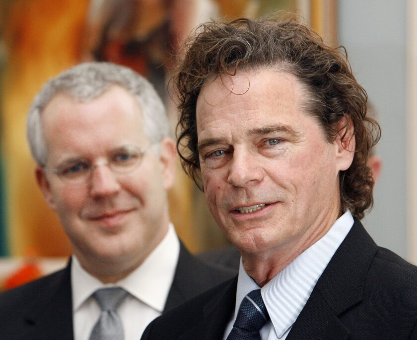 Music artist B.J. Thomas, right, after receiving a proclamation in Oklahoma City.