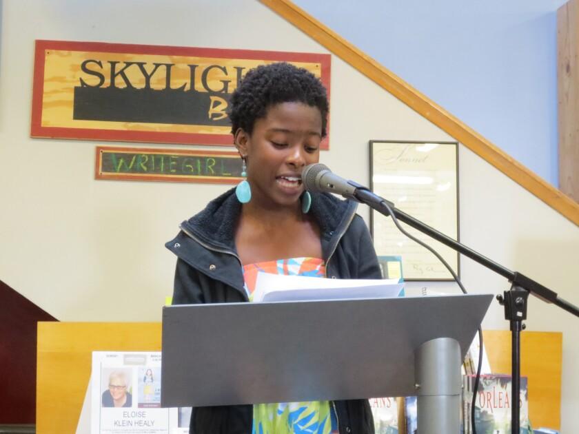 Amanda Gorman at 15, reading at Skylight Books in Los Feliz as part of the WriteGirl mentorship program, in 2013.