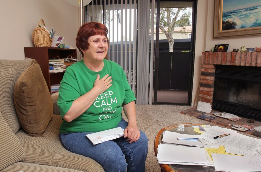 May 19, 2016, Carlsbad, California, USA_| Mary Lucid, 70, speaks about the affordable housing program in her Carlsbad apartment complex ending soon. | Mandatory Photo Credit: Photo by Charlie Neuman/San Diego Union-Tribune/©2016 San Diego Union-Tribune, LLC