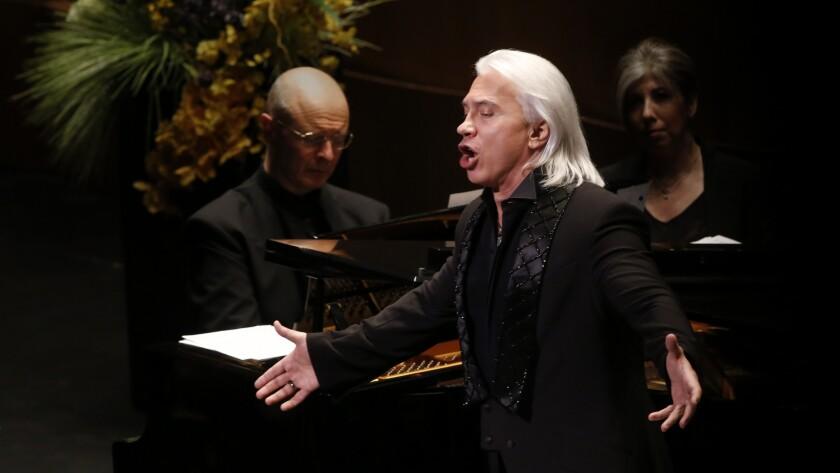 Russian baritone, Dimitri Hvorostovsky, right, accompanied by pianist Ivar Ilja.
