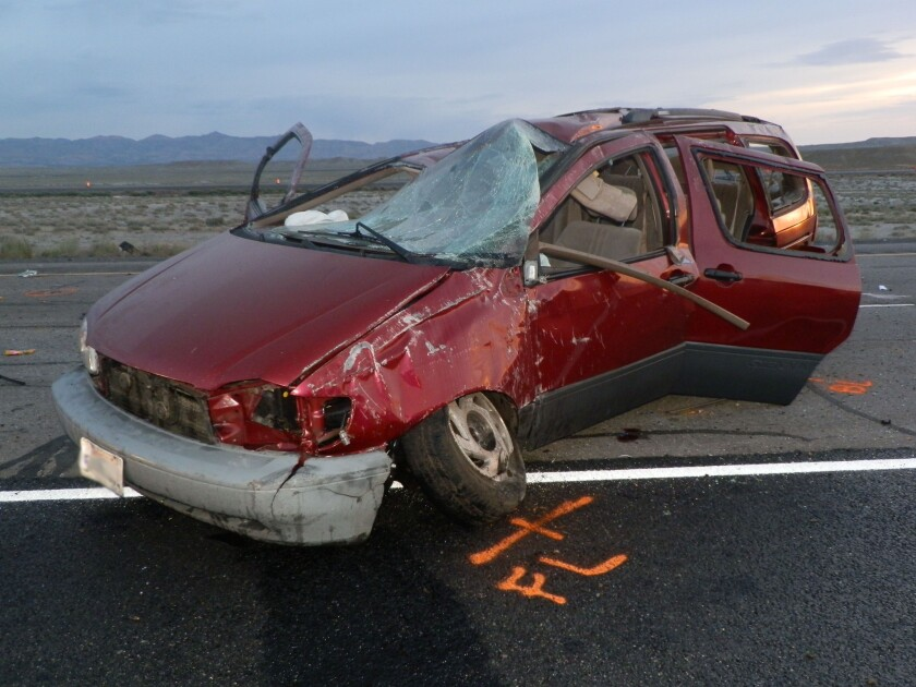 U.S. motor vehicle crashes in 2010 cost almost $1 trillion in loss of productivity and loss of life, a new NHTSA study says. This image, provided by the Utah Highway Patrol, shows the scene of a car crash where authorities say four people died and four were injured in a van rollover on May 16.