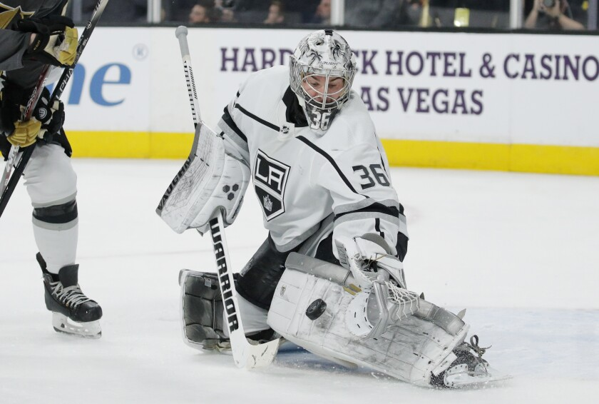 Kings goaltender Jack Campbell blocks a shot by the Vegas Golden Knights during the second period on Thursday in Las Vegas.
