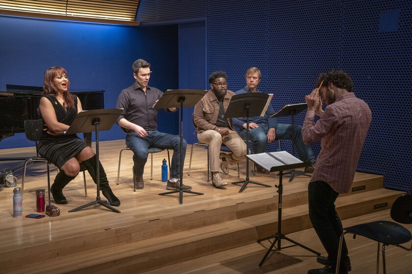 Aucoin conducts, from left, Danielle de Niese (Eurydice), Joshua Hopkins (Orpheus), John Holiday (Orpheus' Double) and Rod Gilfry (Father) in a December workshop.