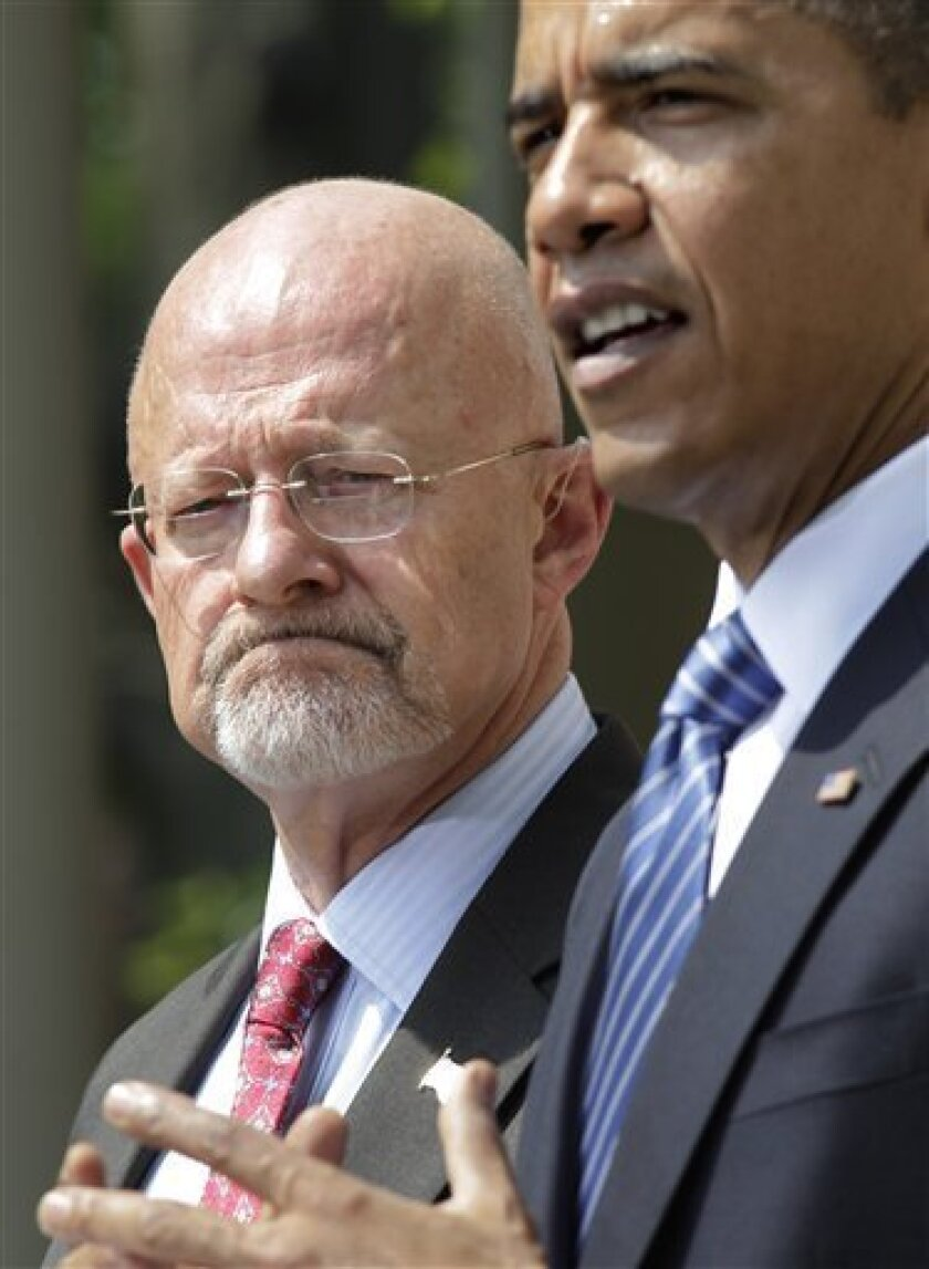 In this June 5, 2010, photo, President Barack Obama announces James Clapper, left, as Director of National Intelligence in Washington. More than a year after the CIA's inspector general stepped down, frustrated members of Congress are urging the White House to fill the internal watchdog position that was central in uncovering abuses inside the spy agency. Several possible candidates have fallen by the wayside despite assurances from the Obama administration that a nominee will be chosen soon. The administration also faces congressional unease over its new nominee for national intelligence director, Clapper, after the forced resignation of the previous director, Dennis Blair. (AP Photo/J. Scott Applewhite)