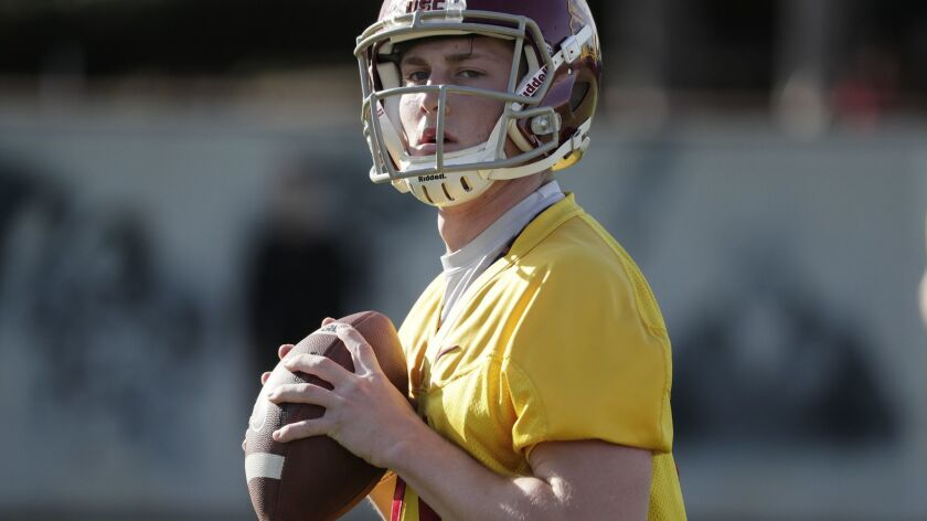 Quarterback Jack Sears prepares to throw a pass during spring practice at USC's Howard Jones Field in March.