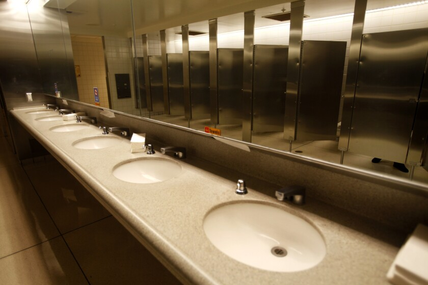 A women's restroom at LA/Ontario International Airport in 2011. It's estimated that automatic-flush toilets at airports like LAX waste millions of gallons of water annually.