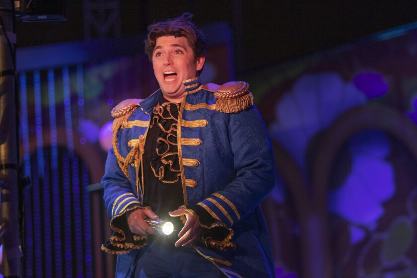 "Baritone David Pershall plays Figaro in San Diego Opera's ""The Barber of Seville."""