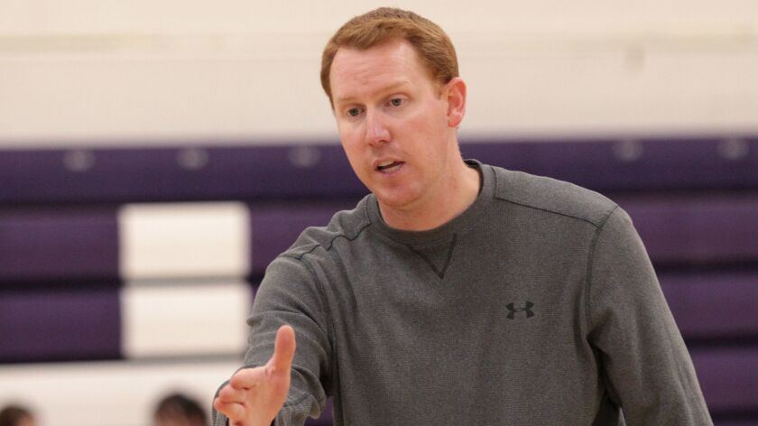 Coach Sam Eshelman of the Carlsbad High School basketball team at the school 12/19/17. photo by Bill