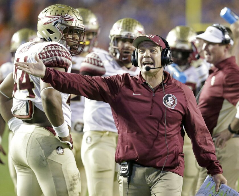 Florida State head coach Jimbo Fisher makes a plea to an official during the first half of an NCAA college football game against Florida, Saturday, Nov. 28, 2015, in Gainesville, Fla. (AP Photo/John Raoux)