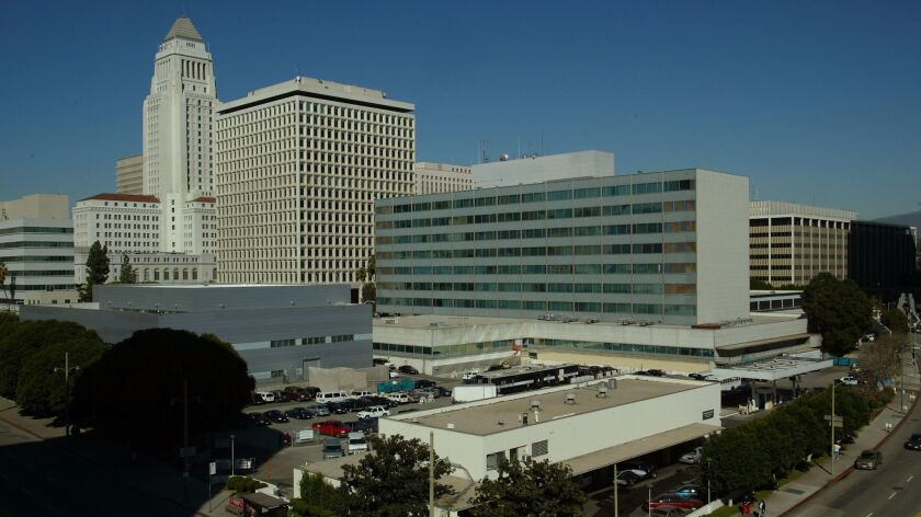 Parker Center, the Los Angeles Police Department's former headquarters, is seen from the intersection of First St. and San Pedro St. in downtown L.A. in 2002.