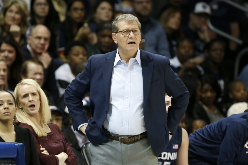 Connecticut head coach Geno Auriemma watches the first half of an NCAA college basketball game against SMU in University Park, Texas, Sunday, Jan. 5, 2020. (AP Photo/Michael Ainsworth)
